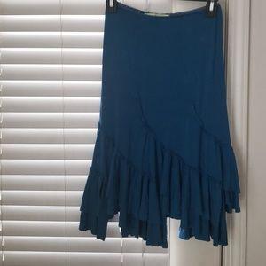 Miss Me blue cotton poly blend ruffle skirt